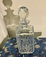 Vintage Clear Heavy Glass Crystal Whiskey Decanter With Sparkling Cut Lid