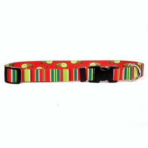 NEW Red and Green Dog and Cat Collar in Holiday Stripes by Yellow Dog Design