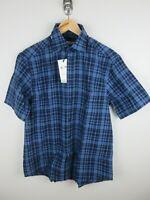RM Williams Mens Bundaleer Linen Shirt Size XS Short Sleeve Button Up Plaid New