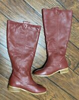 Lumiani Women's Red Leather Lacey Size 5.5 Burgandy Riding Tall Boots NWOB