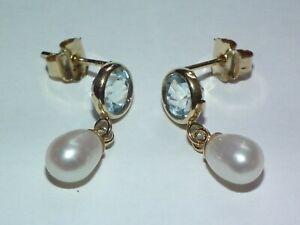 Beautiful 9ct Gold Topaz & Teardrop Shaped Pearl Earrings, Lovely Example!