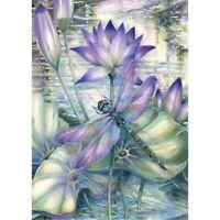 Diamond-Painting DIY Full Drill 5D Dragonfly And Purple Lotus Kits Art Decors
