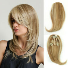 Women 100% Remy Human Hair Side Fringe Bang Clip in Frontal Hairpiece For Women