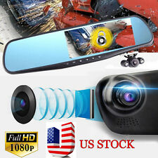 "170° Full HD 1080P 4.3"" Video Recorder Dash Cam Rearview Mirror Car Camera DVR"