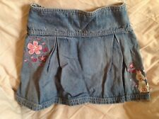 Girls denim skirt age 5 years 110cms  Next dog / poodle & flowers embroidery