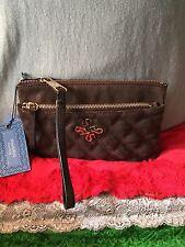 Handbag Vera Wang Brown Cloth Leather Two Zip Clutch Purse Zipper Wristlet