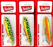 (3) Heddon Rattlin' Spook Topwater Fishing Lures FLR GREEN CRAW XR9253GRA
