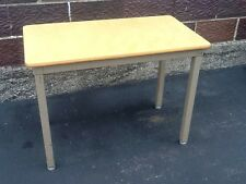 Vintage Toledo Furniture Co Industrial Student Desk - Tan Metal - Very Good