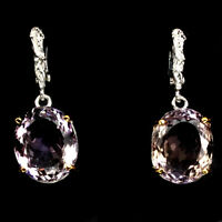 Handmade Oval 18.68ct 16x12mm Bi Colors Ametrine 925 Sterling Silver Earrings