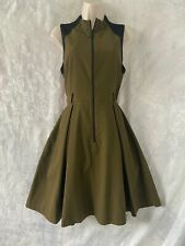 """Gorgeous  """"CUE""""  Khaki & Back Zip Front Fit and Flare Dress Size 12"""