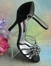 "NINA black SATIN strappy HIGH HEEL SHOES open-toe PEARLS rhinestones 8.5M 4""HEEL"