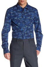 HUGO BOSS Extreme Print Slim Fit Shirt, Spread collar, Long sleeves 2XL $135 NWT