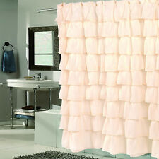"Fabric Shower Curtain 70"" x 72"" Elegant Crushed Voile Ruffled Tier Ivory"