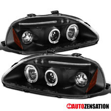 For 96-98 Honda Civic Black LED DRL Dual Halo Rims Projector Headlights