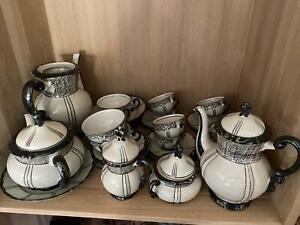 Mitterteich Bavaria Kaffeeservice in schwarz - Tee - Porzellan