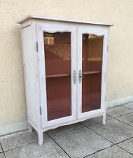 Vintage French Small Glazed Bookcase Display Cabinet Painted In Dove Grey