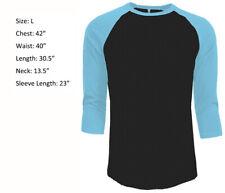 3/4 Sleeve Plain T-Shirt Baseball Raglan Jersey Men's Tee Black Light Blue L