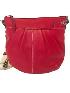 Coach ~ Red Leather Pleated Front Crossbody Swingpack ~ Small Bag