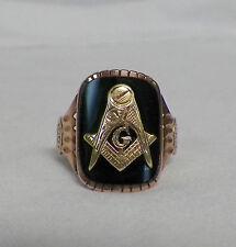 10K Yellow Gold Masonic Ring Mason Compass Size 10 Black