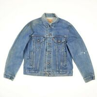 Vtg LEVIs Denim Trucker Jacket Faded Distressed USA Made Mens size 42