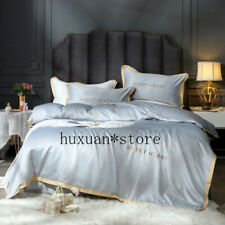 Pure Satin Silk Bedding Set Comforter Bed Set Luxury Bedding Embroidery Solid