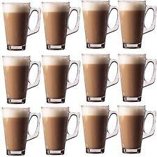 12 x LATTE GLASSES TEA COFFEE CAPPUCCINO GLASS CUPS HOT DRINK MUGS 240ml