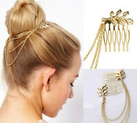 Gold Metal Womens Fashion Tassel Leaf Comb Cuff Chain Jewelry Headband Hair Band