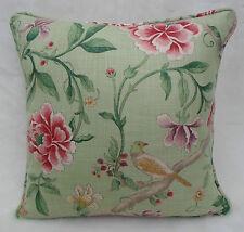Sanderson Fabric Cushion Cover 'Porcelain Garden' Rose/Fennel ~ Linen Blend