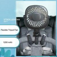 USB Rechargeable Baby Stroller Fan Car Seat Flexible Handheld Desk Personal Fan