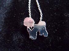 Sweet silver tone Bichon Frise silhouette necklace