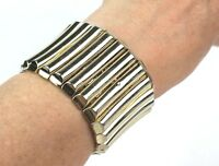 Vintage Monet Gold Tone Accordion Bracelet Bold Chunky