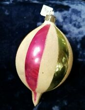 Vintage GLASS CHRISTMAS ORNAMENT  Striped with mica glitter marked POLAND