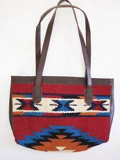 Artisan Handwoven Wool SOUTHWESTERN burgundy, turquoise,esign Bag faux leather