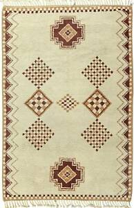 Moroccan Rug with Caramel and Brown Geometric Design on Cream Background BB5828