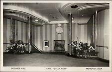 White Star Line Steamship RMS Queen Mary Interior RPPC PROMENADE DECK