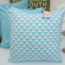 CUSHION COVER COTTON FABRIC GEOMETRIC TURQUOISE DUCK EGG BLUE TEAL TRIANGLE CF/