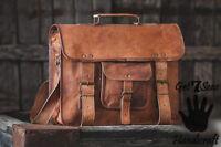 Real Mens Genuine Vintage Brown Leather Messenger Bag Shoulder Laptop Briefcase