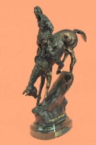 """FREDERIC REMINGTON BRONZE """"MOUNTAIN MAN"""" INDIAN CHIEF ON HORSE MARBLE BASE SALE"""