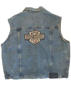 Harley Davidson Denim Vest Stone Washed Biker Sleeveless Leather Patch 2XL XXL