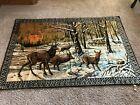 Large Vintage Tapestry Deer Family Doe Buck Wall Cabin Decor Wood