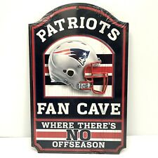 Patriots Fan Cave Sign No Off Season Wood Game Room Man Cave NFL Licensed