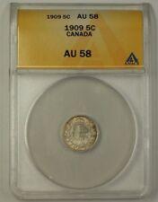 1909 Canada Five Cent 5C Silver Coin ANACS AU-58