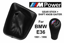 BMW E36 M POWER 5 SPEED SHIFT KNOB & GEAR STICK GAITER BOOT NATURAL LEATHER NEW
