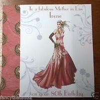 Ladies Girls Handmade Personalised Birthday Card Dress 50th 70th Deco Any Age