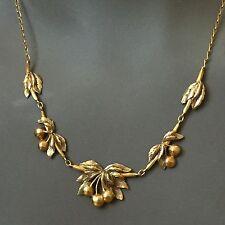 COLLIER CHERRY NECKLACE OR MASSIF CERISE ART NOUVEAU JUGENDSTIL GOLD 750 CHAIN