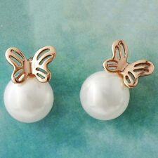 Korean White Pearl Rose Gold Plated Womens Butterfly small cute Stud Earrings
