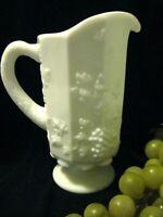"VINTAGE WESTMORELAND PITCHER - The Paneled Grape Milk Glass Pattern - 8"" High"