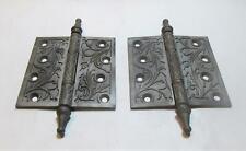 VTG ANTIQUE CAST IRON  DOOR HINGE PLATE HINGE HARDWARE NO PINS ORNATE VICTORIAN