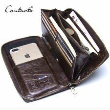 Genuine Leather Men Clutch Wallet Card Holder Long Zipper Purse Phone Case