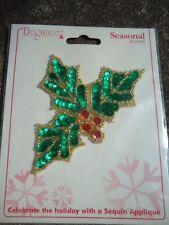 Elegance Seasonal Accents Christmas Sequin Bead Holly & Berry Appliqué